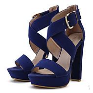 Calçados Femininos - Sandálias - Saltos / Plataforma / Bico Quadrado / Bico Aberto - Salto Grosso - Preto / Azul / Rosa / Bege -Veludo /