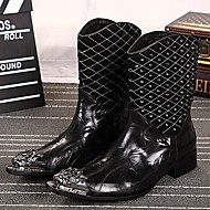 Men's Shoes Amir Limited Edition Pure Handmade Cosplay Nightclub / Party & Evening Leather Fashion Boots Black/Red