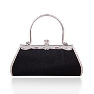 Women PVC / Metal Minaudiere Clutch / Evening Bag - Black