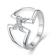 Maxi anel Prata Chapeada Moda Estilo simples Prata Jóias Festa 1peça