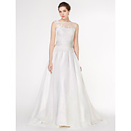 Lan Ting - A-line Wedding Dress - Ivory Court Train Scoop Chiffon / Lace