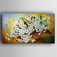 Oil Painting Impression White Flowers Painting Hand Painted Canvas with Stretched Framed Ready to Hang