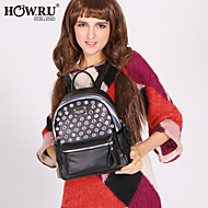 HOWRU® Women 's PU Backpack/Tote Bag/Leisure bag/Travel Bag-Gray/Fuchsia