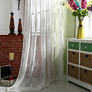 (Two Panels)Modern Floral Embroider Cotton Linen Blend Sheer Curtain Frape