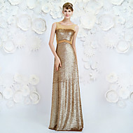 Formal Evening Dress - Champagne Sheath/Column Jewel Floor-length Tencel