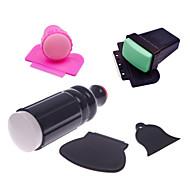 3sets nail stamper scrapers (1set pink+1set green+1set black) Nail Art Decoration горный хрусталь жемчуг макияж КосметическиеNail Art