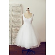A-line Wedding Dress - White Knee-length Scoop Cotton / Tulle