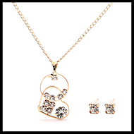 Chic Delicate Gold Chain Round Heart Pendant Necklace with Stud Earrings Women's Jewelry set