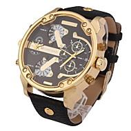 Men's Military Fashion Dual Time Zones Calendar Leather Strap Quartz Watch Wrist Watch Cool Watch Unique Watch