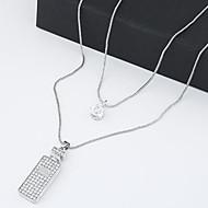 Fashion Sweet Temperament Shiny Rhinestone Double Long Necklace