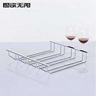 Contemporary Style Four Row Solid Iron Wine Rack Cup Holder