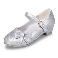 Girl's Spring / Summer / Fall / Winter Round Toe Leatherette Outdoor / Casual Low Heel Bowknot Blue / Pink / Silver