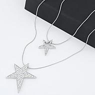 Fashion Sweet Temperament Shiny Rhinestone Star Double Long Necklace