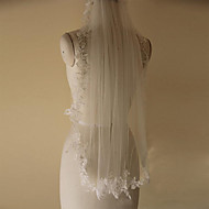 웨딩 면사포 한층 팔꿈치 베일 레이스처리된 가장자리 명주그물 화이트 / 아이보리