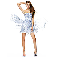 TS Couture Cocktail Party Dress - Print A-line Strapless Knee-length Chiffon