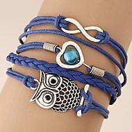 Women's European Style Fashion Retro Owl 8 Infinite Love Multilayer Charm Bracelet