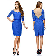 TS Couture Cocktail Party Dress - Royal Blue Sheath/Column Scoop Knee-length Lace
