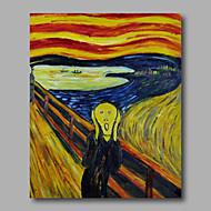 Scream bir panelin üreme Munch gerilmiş el boyaması yağlıboya tuval duvar sanatı Edvard asmak için hazır