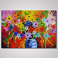 Maalattu Abstrakti / Asetelma / Kukkakuvio/KasvitiedeModerni 1 paneeli Kanvas Hang-Painted öljymaalaus For Kodinsisustus