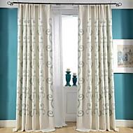 Deux Panneaux Rustique / Moderne / Néoclassique Floral / Botanique Multicolore Chambre à coucher Mélange Lin/Coton Panneau Rideaux rideaux