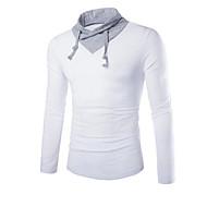 Herren T-shirt-Einfarbig Freizeit / Sport Baumwolle Lang-Schwarz / Blau / Weiß / Grau