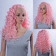 20inch Fashionable Cosplay Party Wig Pink Color Curly Lace Front Quality Synthetic Wigs
