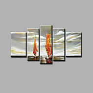 Ready to Hang Stretched Hand-Painted Oil Painting Canvas Wall Art Seascape Boats Waves Modern Five Panels