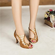 Non Customizable Women's Dance Shoes Latin Satin / Leather Flared Heel Black / Brown / Purple / Red