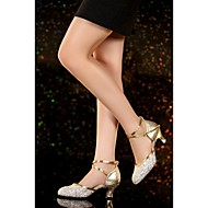 Non Customizable Women's Dance Shoes Latin Satin / Leather Flared Heel Silver / Gold
