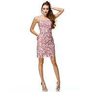 TS Couture® Prom / Cocktail Party / Company Party / Family Gathering Dress Sheath / Column Scoop Short / Mini Lace / Polyester withBeading