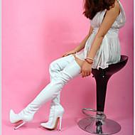 נעלי נשים - מגפיים - דמוי עור - עקבים / שפיץ - שחור / לבן - מסיבה וערב - עקב סטילטו