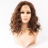 16 인치 레이스 앞 머리는 여성을위한 몽골어 처녀 머리 100 % 인간의 머리 레이스 앞 물결 모양 스타일 가발 가발