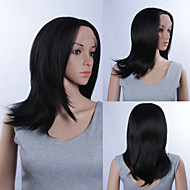 16inch Fashionable Cosplay Party Wig Natural Straight Black  Lace Front Quality Synthetic Wigs