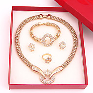 Gold-plated Fashion romantic heart line(Including Necklace, Earring, Bracelet, Ring) Jewelry Sets
