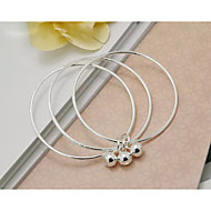Women's Round Bangles Bracelet Sterling Silver Non Stone / Crystal