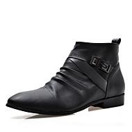 Støvler-Læder-Komfort-Herre-Sort-Fritid-Flad hæl