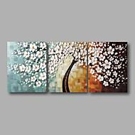 Ζωγραφισμένα στο χέρι Αφηρημένο Άνθινο/Βοτανικό Οριζόντια Πανοραμική,Μοντέρνα Τρίπτυχα Hang-ζωγραφισμένα ελαιογραφία For Αρχική Διακόσμηση