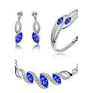 High Quality Full Crystal Pendant Jewelry Set Necklace Earring (Assorted Color)