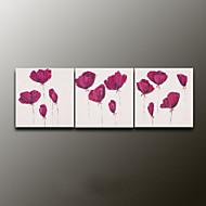 handbemalte Blumen / Pflanzen modernes Ölgemälde, Leinwand drei Platten
