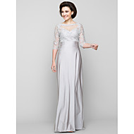 Lanting Sheath/Column Mother of the Bride Dress - Silver Ankle-length Half Sleeve Tulle / Charmeuse