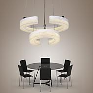 """LED Crystal Pendant Light, The Letter """"C"""" Shape Modern Lamp Two Rings"""