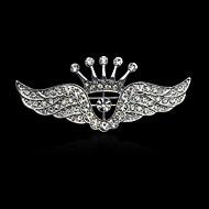 Fashion Inlay Diamond Crown Wing Brooch