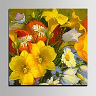 Handgeschilderde Bloemenmotief/BotanischPastoraal Eén paneel Canvas Hang-geschilderd olieverfschilderij For Huisdecoratie