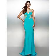 Formal Evening Dress - Ocean Blue Trumpet/Mermaid Scoop Sweep/Brush Train Jersey