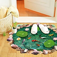Wall Stickers Wall Decals, Creative 3D Chinese Style Lotus Pond PVC Wall Stickers
