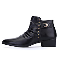 Men's Spring / Summer / Fall Motorcycle Boots Leather / Leatherette Outdoor / Casual / Athletic Flat Heel Black