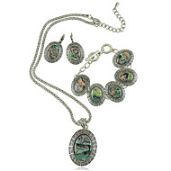 New Fashion Shell Jewelry Set Metal with Antique Silver Plated Shell Pendant Necklace Earring and Bracelet Set