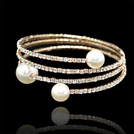 Pearl Crystal Three Layer Bracelet Bangle for Party Women