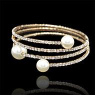 Bettelarmbänder / Armreife / Wickelarmbänder / Tennis Armbänder 1 Stück,Goldfarben Armbänder Perle / Zirkon Schmuck Damen
