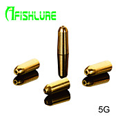 Afishlure Bullet Type Pure Copper Fishing Weights Fishing Accessaries Copper Pendant  5g Fishing Sinkers 8pcs/lot